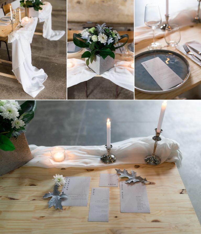 décoration de table à l'état brut