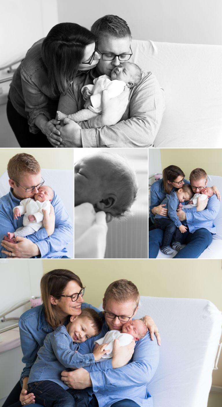 portraits de famille lors d'une séance lifestyle à la maternité